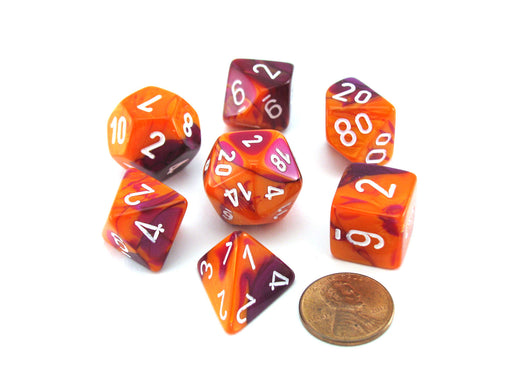 Polyhedral 7-Die Gemini Chessex Lab Dice 3 Set with Black Light Reactive - Orange-Purple