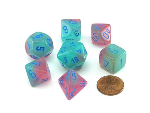 Polyhedral 7-Die Gemini Chessex Lab Dice 3 Set with Luminary - Gel Green-Pink