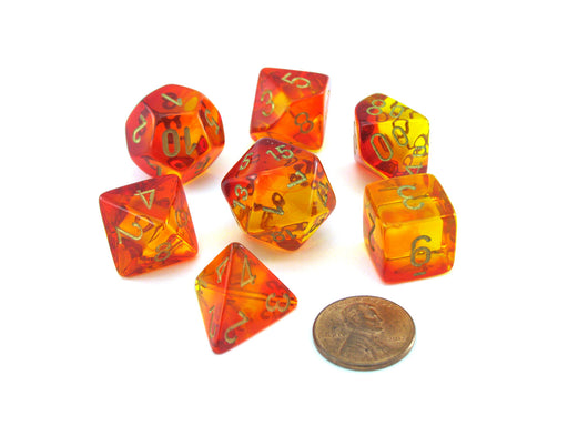 Polyhedral 7-Die Gemini Chessex Lab Dice 3 Set - Red-Yellow with Gold Numbers