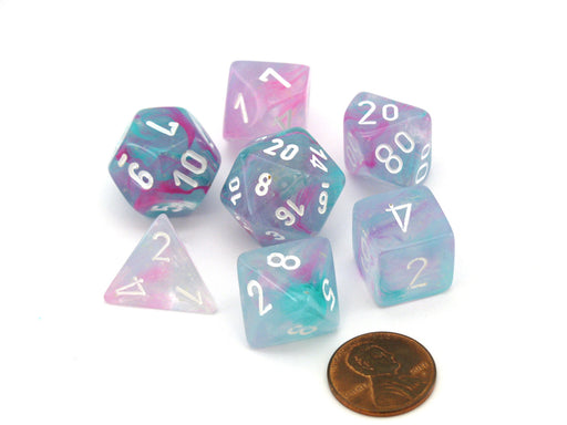 Polyhedral 7-Die Nebula Lab Dice 2 Chessex Dice Set Luminary-Wisteria with White