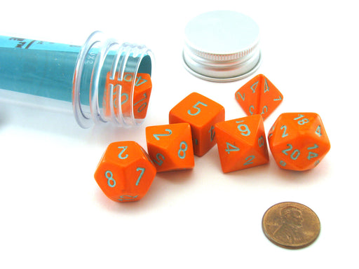 Polyhedral 7-Die Chessex Lab Dice 4 Set - Heavy Dice Orange with Turquoise
