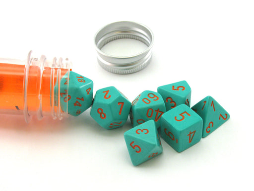 Polyhedral 7-Die Chessex Lab Dice 4 Set - Heavy Dice Turquoise with Orange