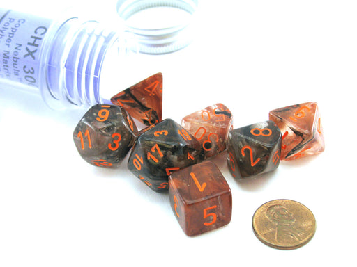 Polyhedral 7-Die Luminary Chessex Lab Dice 4 - Nebula Copper Matrix with Orange