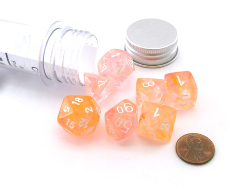 Polyhedral 7-Die Luminary Chessex Lab Dice 4 Set - Nebula Supernova with White