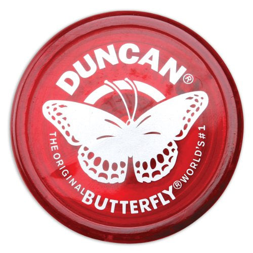 Duncan Original Butterfly YoYo - Beginner Wide Body Yo-Yo - Transparent Red