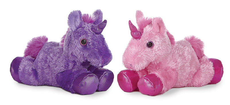 "Bright Unicorn Mini Flopsie 8"" Aurora Plush - 1 Purple and 1 Pink"