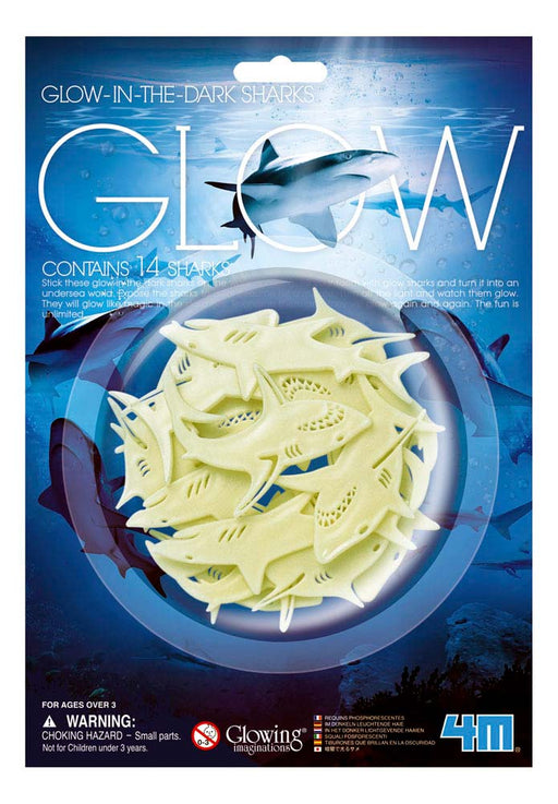 4M Pack of 14 Glow In The Dark Sharks