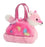"7"" Tye Dye- Pink Pet Carrier with Pink and White Fox Aurora Plush Stuffed Animal"
