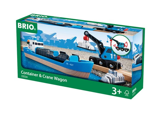 BRIO Container Ship and Crane Wagon Play 4 Piece Set