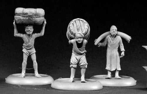 Reaper Miniatures Bearers And Porters (3) #50102 Chronoscope D&D RPG Mini Figure