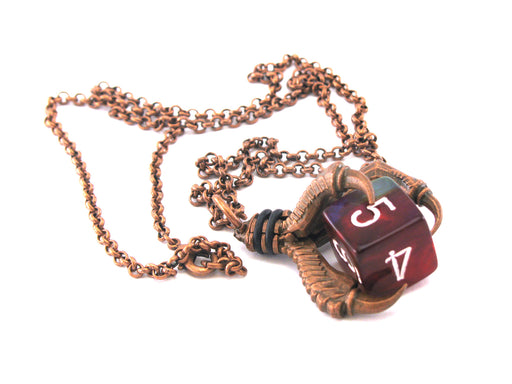 Chessex Jewelry Dice Pendant Necklace with Old Copper Finish - Holds a D6 Die