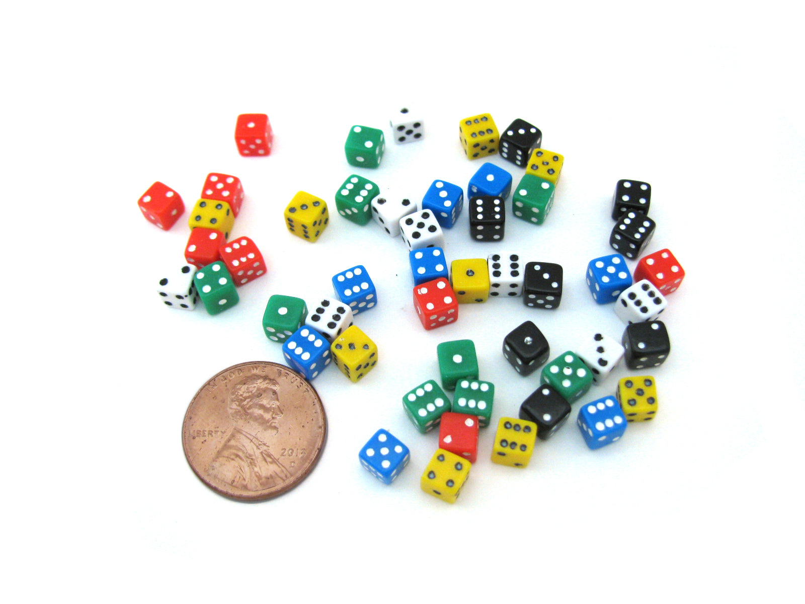 50 Six Sided D6 5mm .197 Inch Die Small Tiny Mini Miniature MultiColored Dice
