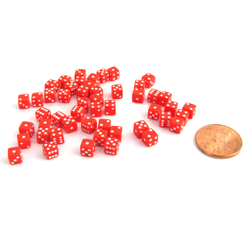 50 Six Sided D6 5mm .197 Inch Die Small Tiny Mini Miniature Red Dice