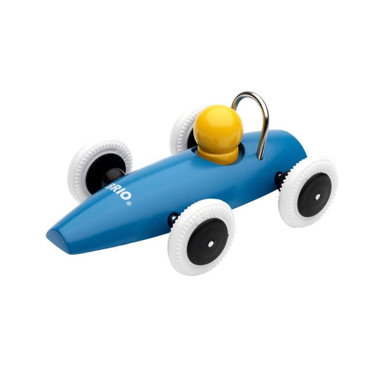 "BRIO 5"" Classic Wooden Push Along Race Car Toddler Toy - Blue Vehicle"