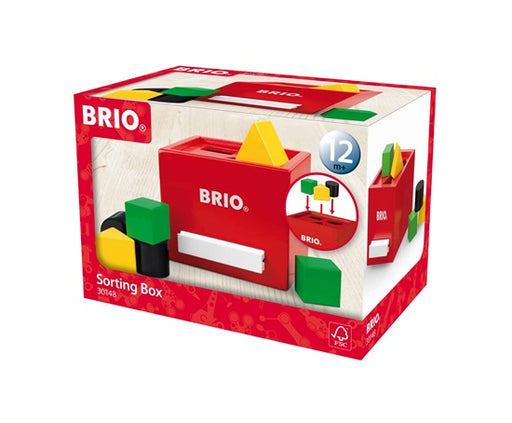 BRIO 7 Piece Wooden Sorting Box Toddler Toy with Squares Triangles and Circles