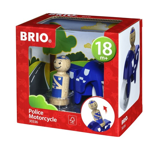 BRIO Wooden Police Officer and Motorcycle Toddler Play Toy