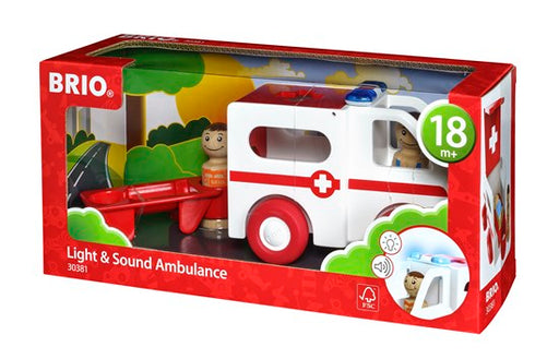 BRIO 4 Piece Wood Light & Sound Ambulance with Driver and Patient