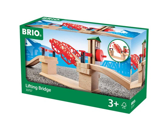 BRIO 3 Piece Lifting Bridge Wooden Train Track Add-On Set