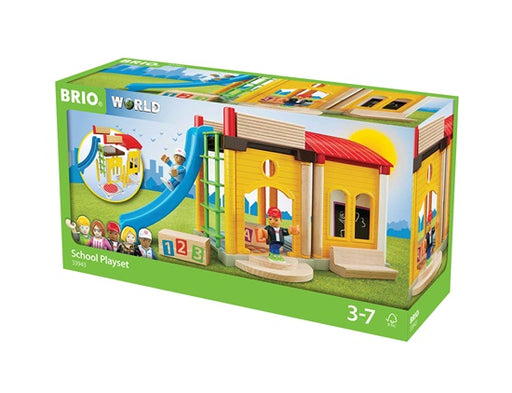 BRIO 22 Piece School Playset Wooden Toy Playground Scene