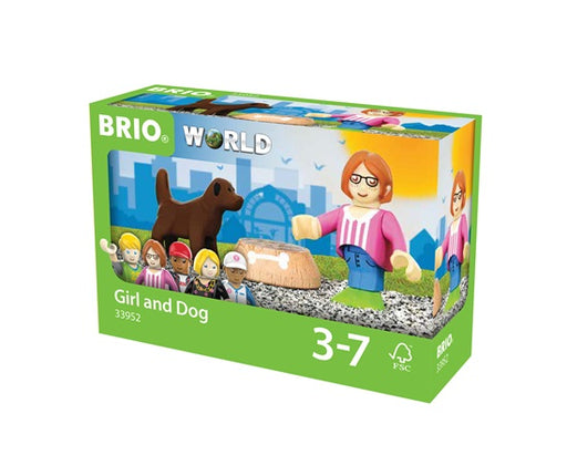 BRIO 3 Piece Person Figure and Dog with Bowl