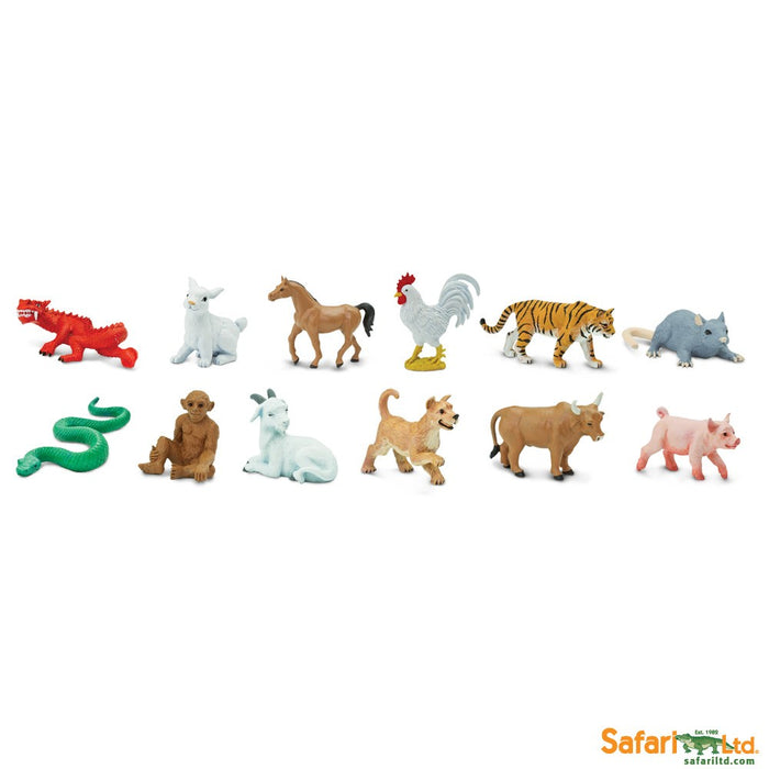 Safari Ltd Super TOOBS Painted Miniature Figure, 12 Pieces - Chinese Zodiac