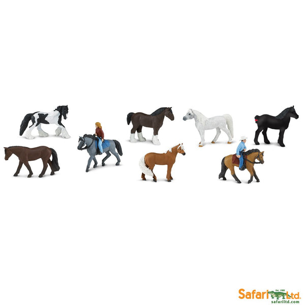 Safari Ltd TOOBS Painted Miniature Figure, 8 Pieces - Horses and Riders