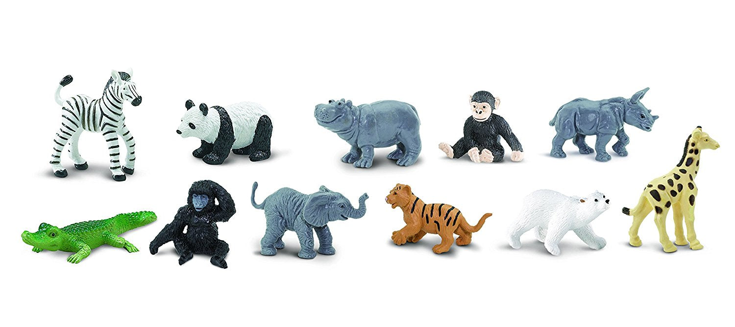 Safari Ltd Zoo Babies TOOB 11 Piece Painted Miniatures Set with Animals