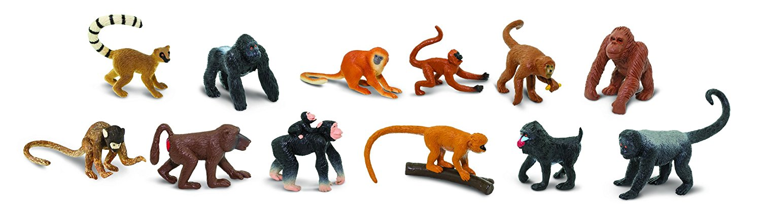 Safari Ltd TOOBS Painted Miniature Figure, 12 Pieces - Monkey and Apes