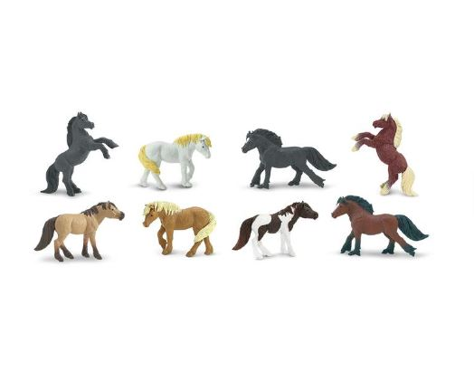Safari Ltd TOOBS Painted Miniature Figure, 8 Pieces - Ponies