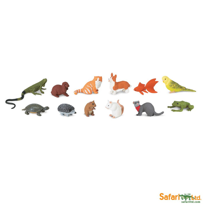 Safari Ltd Pets TOOB 12 Piece Miniature Set w/ Cat Dog Hamster Turtle Ferret etc