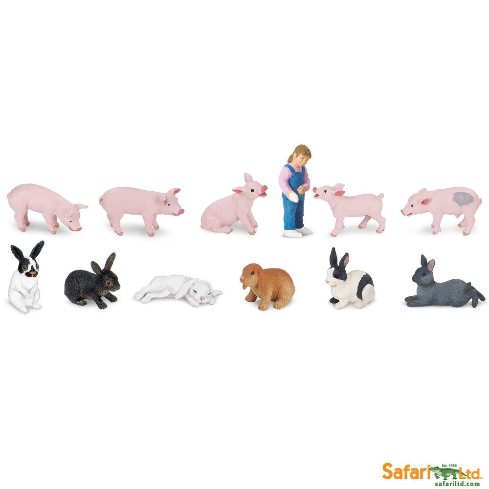 Safari Ltd TOOBS Painted Miniature Figure, 12 Pieces - Piglets and Bunnies
