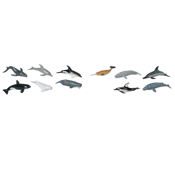 Safari Ltd TOOBS Painted Miniature Figure, 11 Pieces - Dolphins and Whales