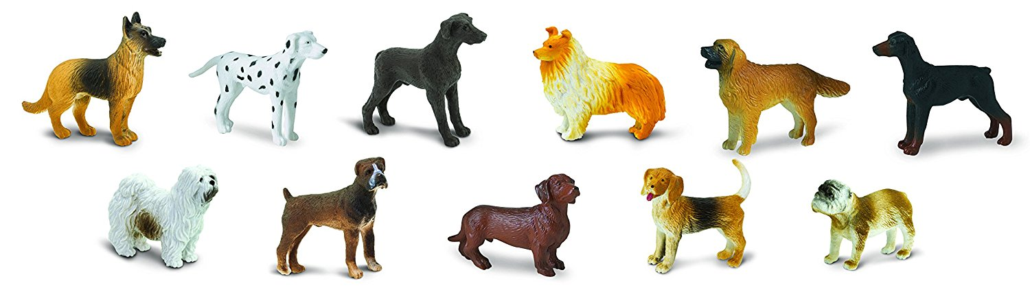 Safari Ltd Dogs TOOB 11 Piece Breed Miniature Replica Plastic Figures