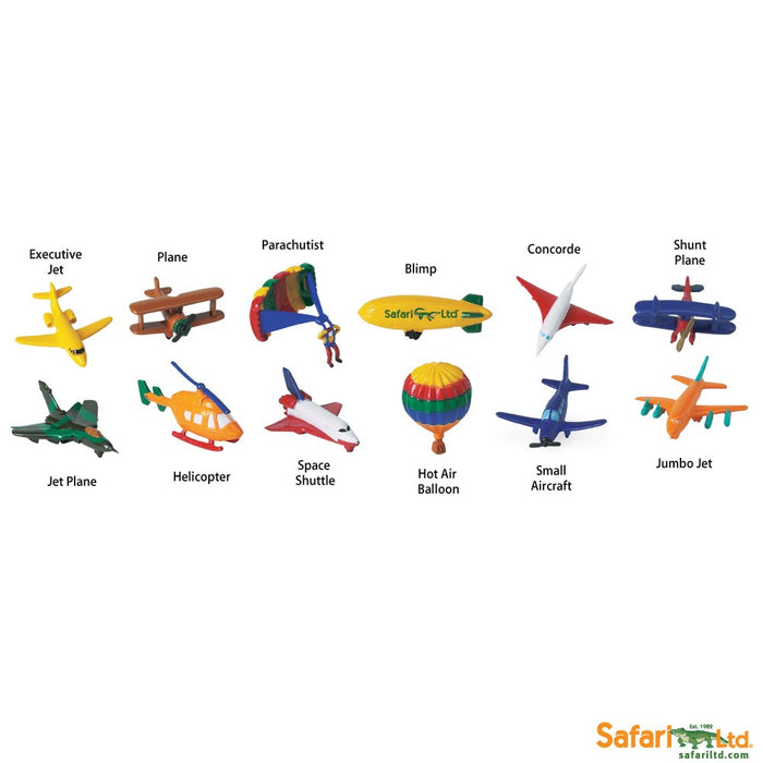Safari Ltd In the Sky TOOB 12 Piece Miniature Vehicle Figure Set