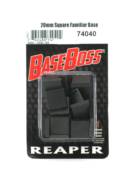 Reaper Miniatures 20mm Square Plastic Flat Top Base (25) RPG Accessory #74040
