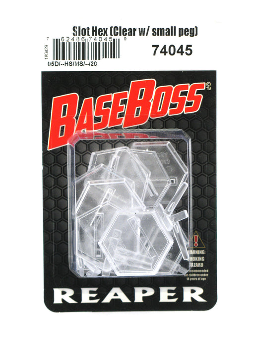 Reaper Miniatures 1 Inch Transparent Slotted Hex (10 bases 10 pegs) #74045