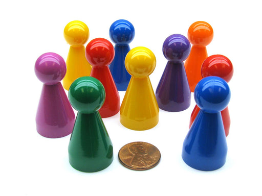 Pack of 10 Large Plastic Pawns #808AA (20mm x 40mm) - Assorted Colors
