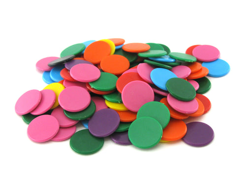 Pack of 100 Opaque 16mm Plastic Bingo Chips #812AA - Assorted Colors