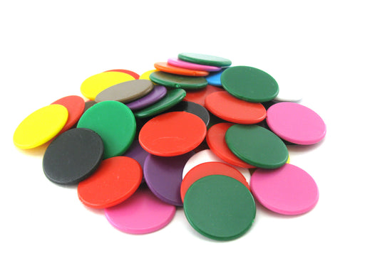 Pack of 50 Opaque 22mm Bingo Chips #813AA - Assorted Colors