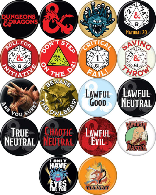 "Dungeons & Dragons 1.25"" Round Collectible Button - Choose your Type"