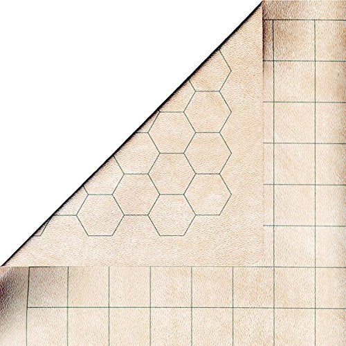 "Chessex Battlemat - RPG Reversible Vinyl Mat 26"" X 23.5"" with 1.5"" Squares/Hexes"