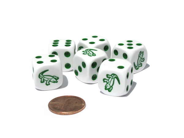 Set of 6 Alligator 16mm D6 Round Edge Koplow Animal Dice - White with Green Pips
