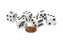 Set of 6 Bat 16mm D6 Round Edge Koplow Halloween Dice - White with Black Pips