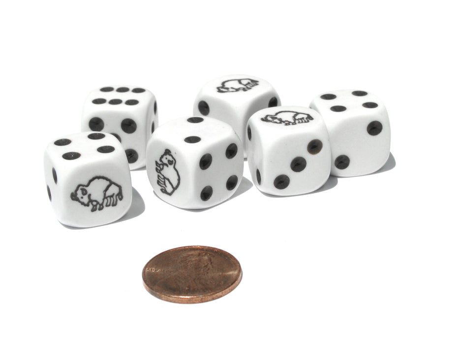 Set of 6 Bison 16mm D6 Round Edge Koplow Animal Dice - White with Brown Pips
