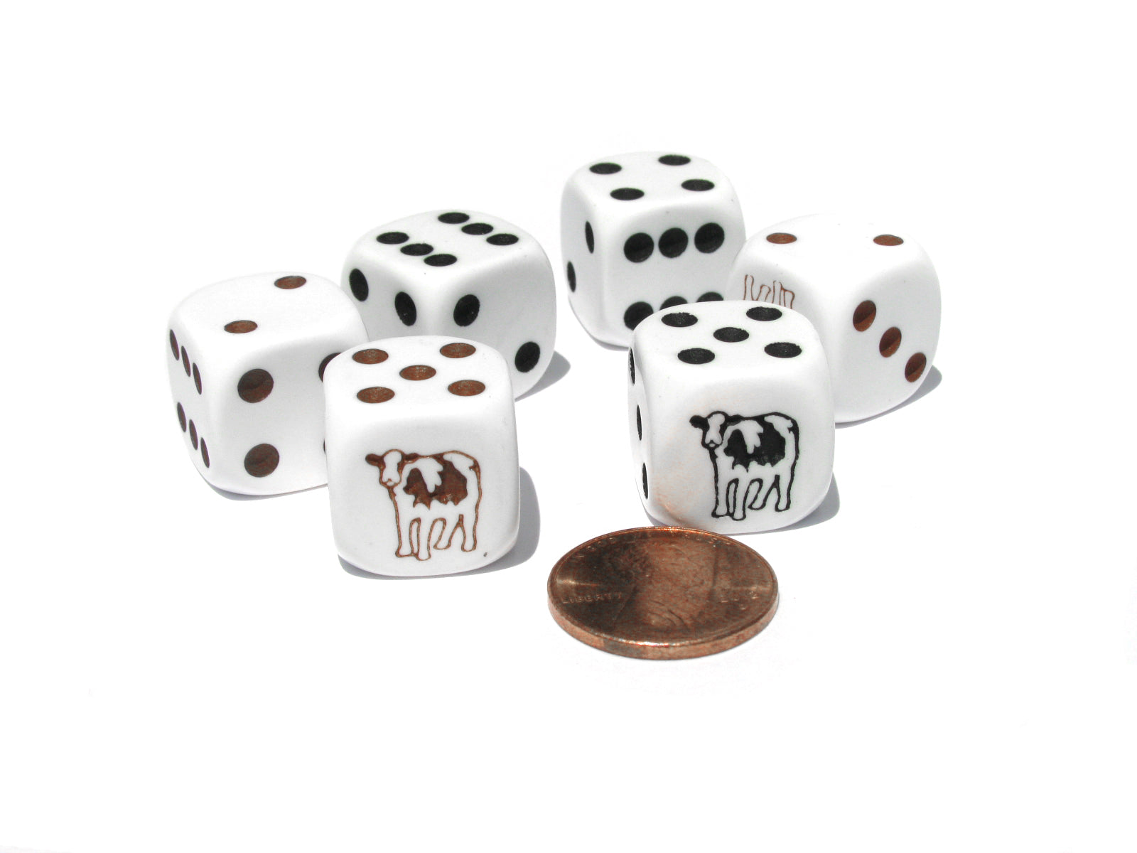 Set of 6 Cow Dice 16mm D6 Rounded Edge- 3 White w Brown and 3 White w Black