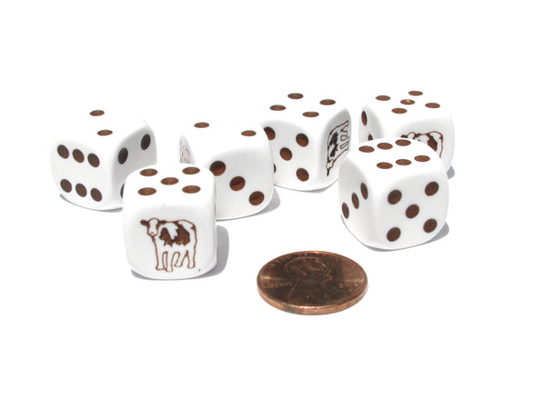 Set of 6 Cow Dice 16mm D6 Rounded Edge Koplow Animal Dice- White with Brown Pips