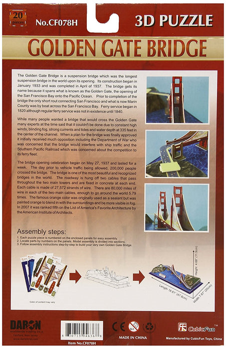 Daron Golden Gate Bridge 3D 20 Piece Foam Puzzle Landmark Model Kit