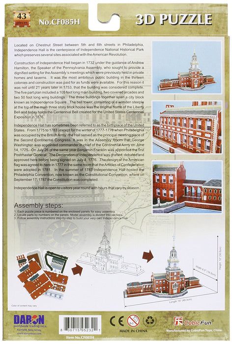 Daron Independence Hall Philadelphia 3D 43 Piece Foam Puzzle Landmark Model Kit