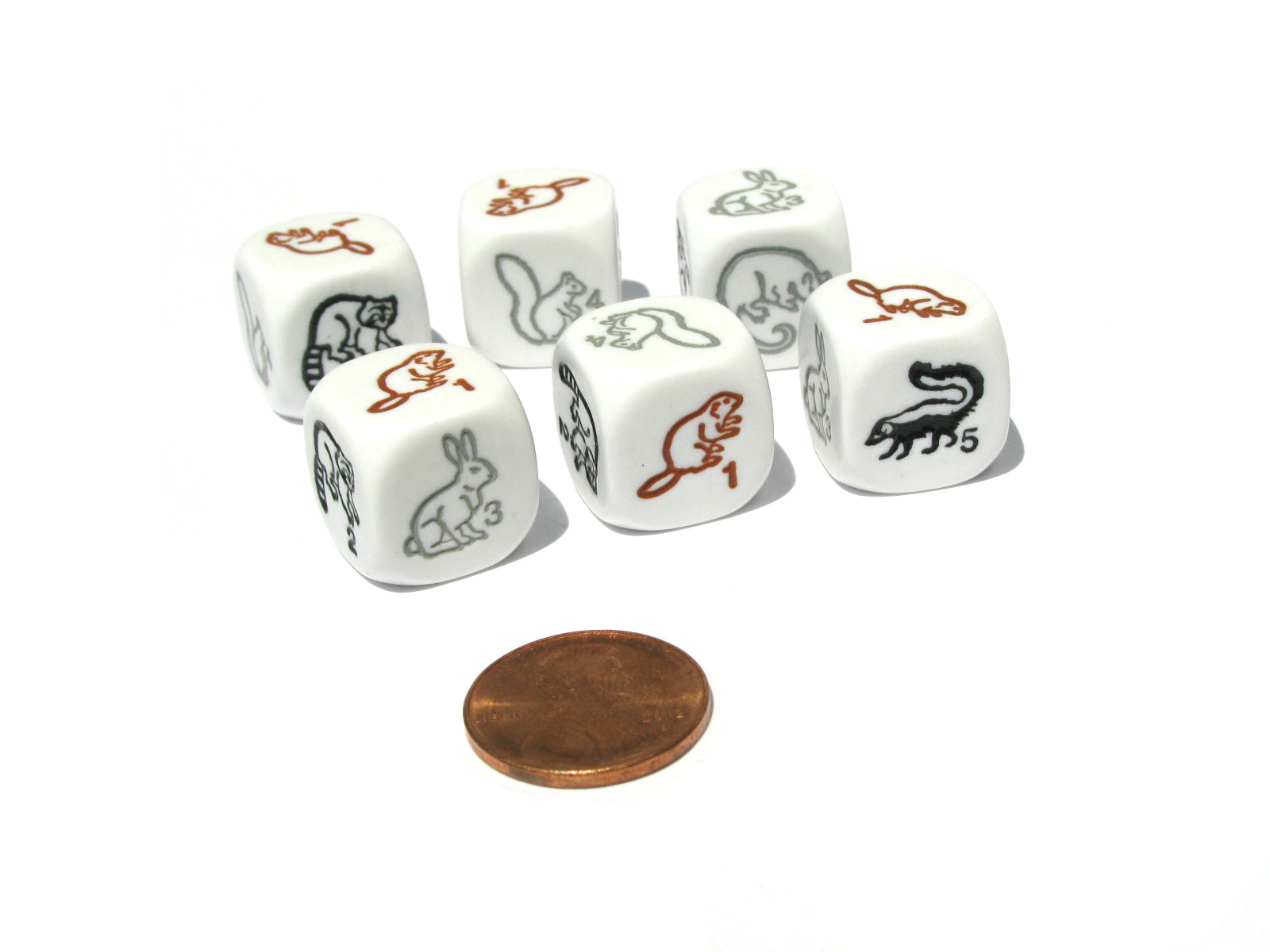 Set of 6 Woodland Creatures 16mm D6 Animal Dice - White with Multi-Color Etches