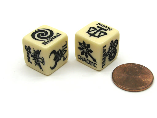 Alignment Chart Dice, 2 Pieces - Lawful, Neutral, Chaotic & Good, Neutral, Evil